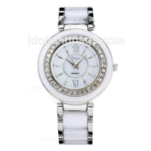 Dior Classic Ladies Ceramic and Diamond Bezel with White Dial 178048