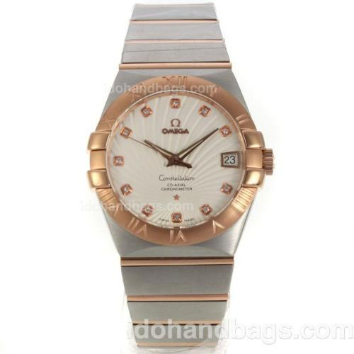 Omega Constellation Swiss ETA 2836 Movement Two Tone Diamond Markers with Beige Dial-Sapphire Glass 129928