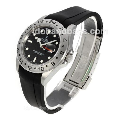 Rolex Explorer II Swiss ETA 2836 Movement with Black Dial-Rubber Strap 130504