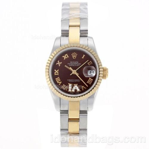 Rolex Datejust Swiss ETA 2671 Movement Two Tone Roman Markers with Brown Dial S/S-Lady Size 72110