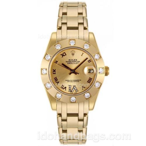 Rolex Masterpiece Swiss ETA 2836 Movement Full Gold Diamond Bezel Roman Markers with Golden Dial-Mid Size 87416