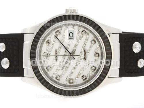 Rolex Datejust Automatic Diamond Marking with Black Ruby Bezel-White Diamond Crested Dial 36653