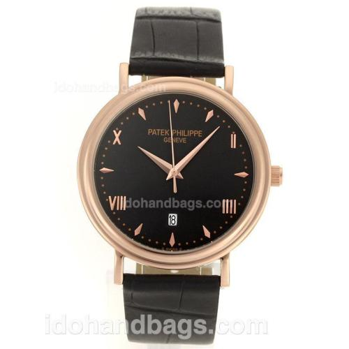 Patek Philippe Classic Rose Gold Case Roman/Stick Markers with Black Dial-Leather Strap 96140