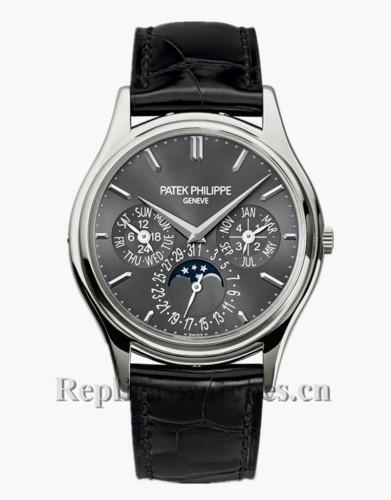 2017 Patek Philippe Perpetual Calendar Black Leather Strap 5140P 017 CMYK