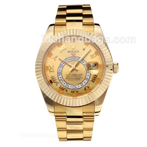Rolex Sky Dweller Automatic Full Yellow Gold with Champagne Dial-Same Chassis as the Swiss Version 195258