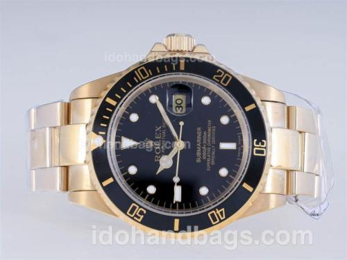 Rolex Submariner Automatic Full Gold with Black Dial and Bezel 25216