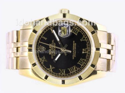 Rolex Datejust Automatic Full Gold with Black Dial-Roman Marking 23363