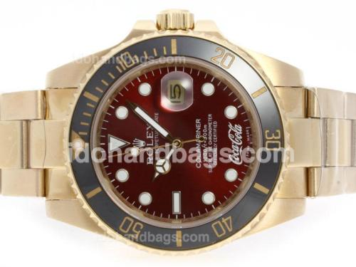 Rolex Submariner Cocacola Limited Edition Automatic Full Gold with Red Dial-Ceramic Bezel 41107
