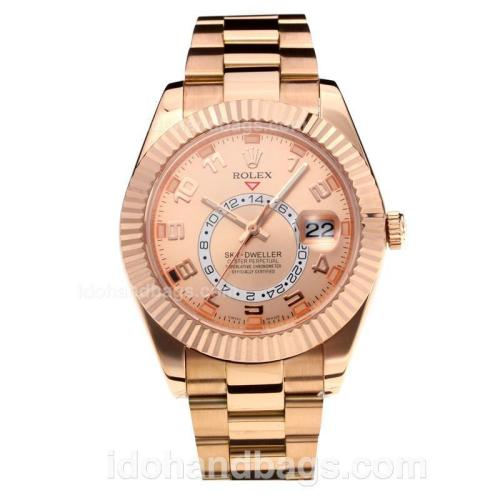 Rolex Sky Dweller Automatic Full Rose Gold with Champagne Dial-Number Markers-Same Chassis as the Swiss Version 195262