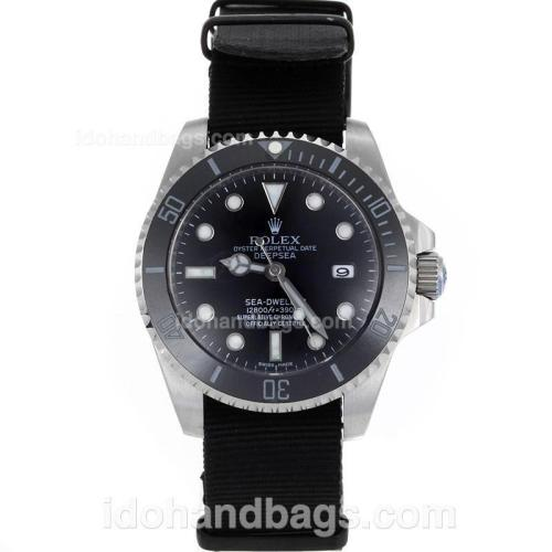 Rolex Sea-Dweller Automatic Black Ceramic Bezel and Dial with Nylon Strap-Sapphire Glass 119212