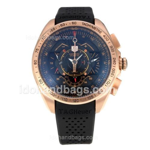 Tag Heuer Carrera Calibre 36 Working Chronograph Rose Gold Case with Black Dial-Black Rubber Strap 174580