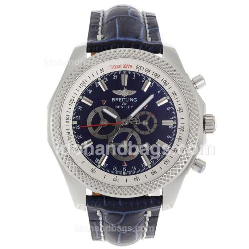 Breitling for Bentley Automatic with Blue Dial-Leather Strap 118130