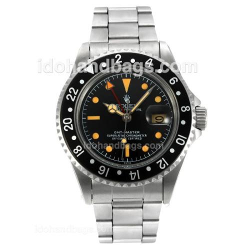 Rolex GMT-Master Swiss ETA 2836 Movement Vintage Edition with Black Dial S/S-Orange Marking 126808
