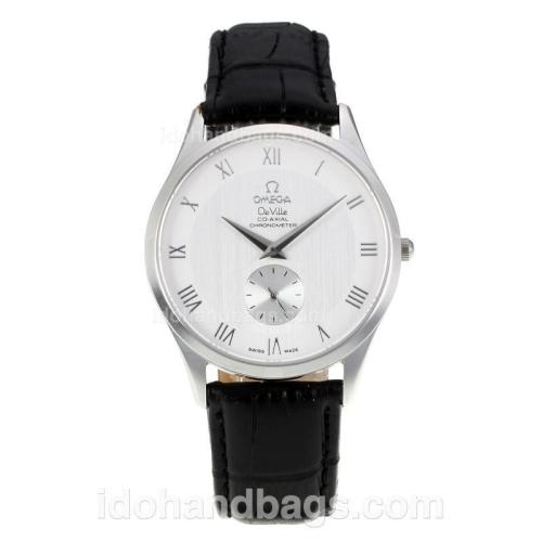 Omega Seamaster De Ville Roman Markers with White Dial-Black Leather Strap-Sapphire Glass 172952