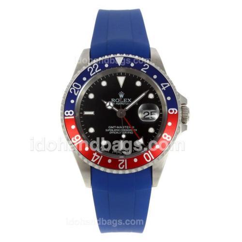 Rolex GMT-Master II Swiss ETA 2836 Movement Blue/Red Bezel with Black Dial-Blue Rubber Strap 130502