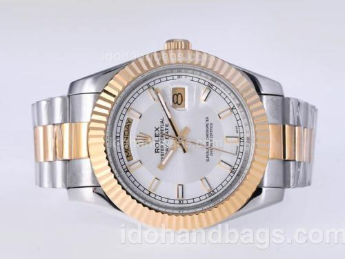 Rolex Day-Date II Automatic Two Tone with Silver Dial-41mm New Version 25398