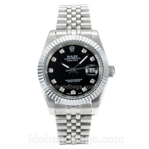 Rolex DateJust II Automatic with Black Dial S/S-Diamond Markers 167732