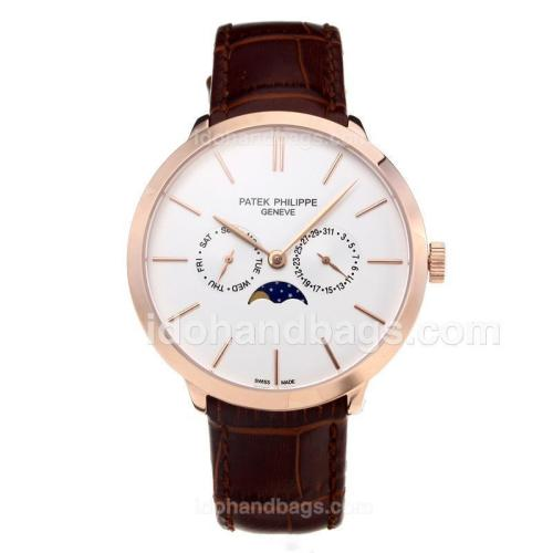 Patek Philippe Rose Gold Case with White Dial-Leather Strap 197868