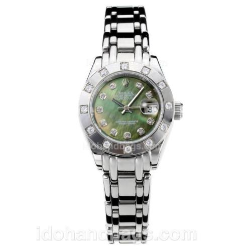 Rolex Masterpiece Automatic Diamond Bezel with Drak Green MOP Dial S/S-Same Chassis as ETA Version 176388