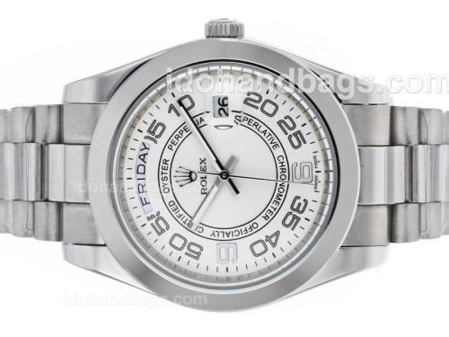 Rolex Day-Date II Automatic Number Markers with White Dial 45275