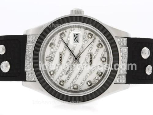 Rolex Datejust Automatic Diamond Marking with Black Ruby Bezel-White Diamond Crested Dial 36656