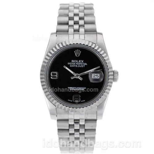 Rolex Datejust Automatic With Black Dial S/S 80483