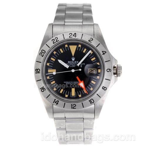 Rolex Explorer Swiss ETA 2836 Movement Black Dial S/S with Yellow Markers-Vintage Edition 62673