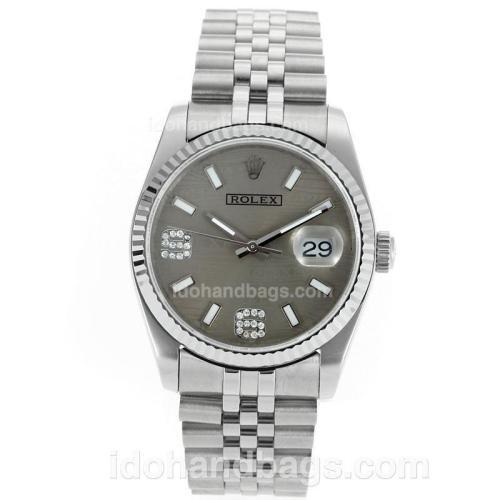 Rolex Datejust Swiss ETA 2836 Movement with Gray Watermark Dial S/S 112330