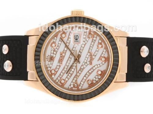 Rolex Datejust Automatic Rose Gold Case Diamond Marking with Black Ruby Bezel-White Diamond Crested Dial 36645