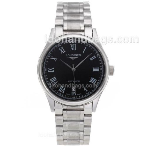 Longines Master Collection Automatic Roman Markers with Black Dial S/S-Sapphire Glass 82588