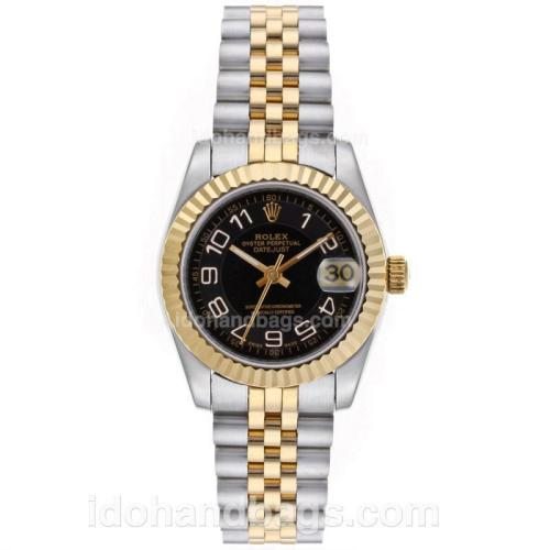 Rolex Datejust Automatic Two Tone Number Markers with Black Dial-Mid Size 64214