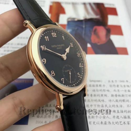 2017 Patek Philippe Calatrava Black Dial Gold Case Replica Watch