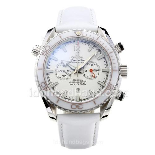 Omega Seamaster Working Chronograph White Ceramic Bezel with White Dial-Leather Strap 182528