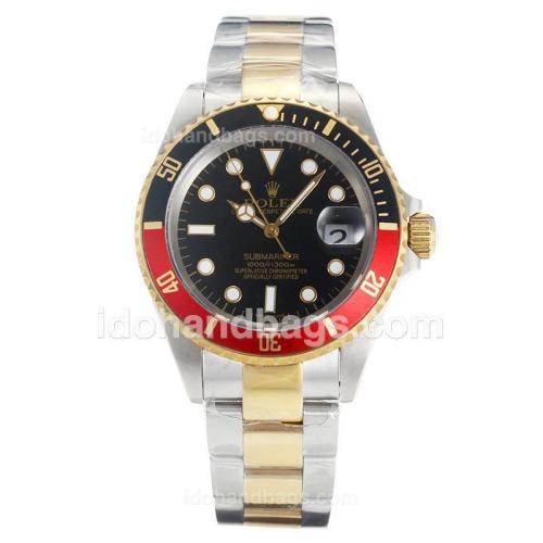 Rolex Submariner Automatic Two Tone Black/Red Bezel with Black Dial 154158