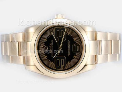 Rolex Air-King Oyster Perpetual Automatic Full Gold with Black Dial-New Version 17827