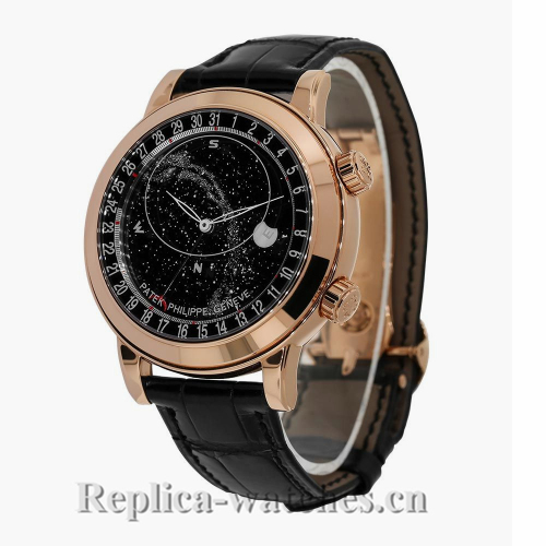 Patek Philippe Grand Complications Rose Gold Black Celestial Moon Age 44mm Watch 6102R001
