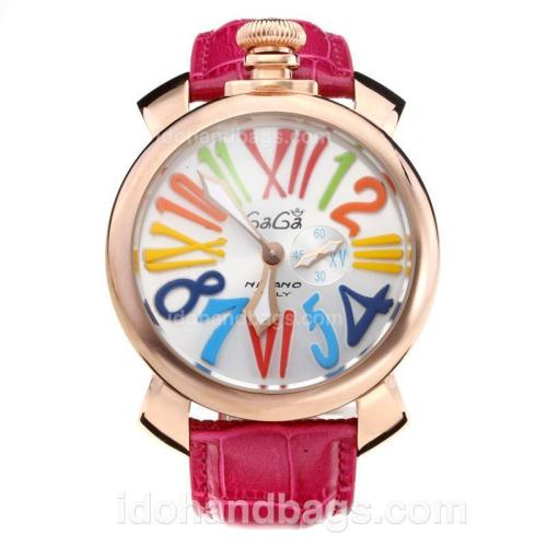 GaGa Milano Rose Gold Case with Silver Dial-Leather Strap 203838