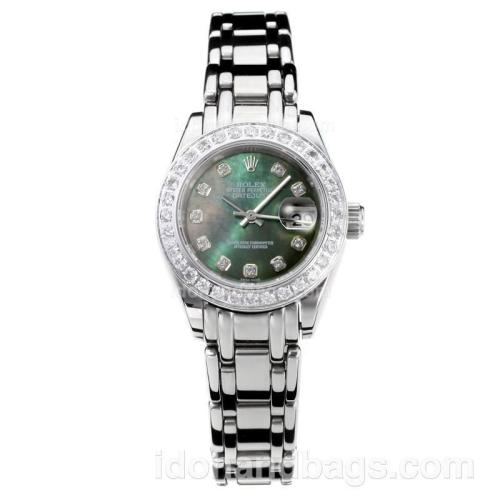 Rolex Masterpiece Automatic Diamond Bezel with Dark Green MOP Dial S/S-Same Chassis as ETA Version 176390