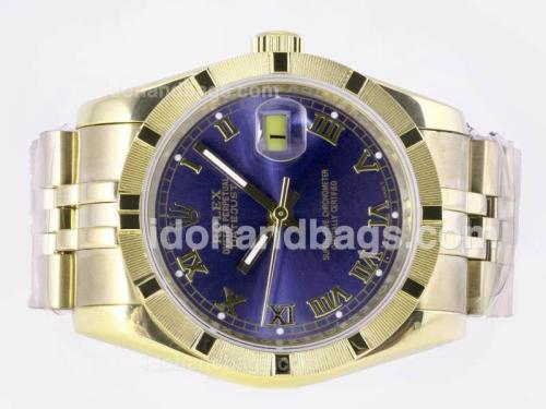 Rolex Datejust Automatic Full Gold with Blue Dial-Roman Marking 23358