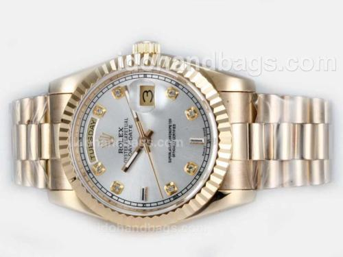Rolex Day-Date Automatic Full Gold Diamond Marking with Silver Dial 20508