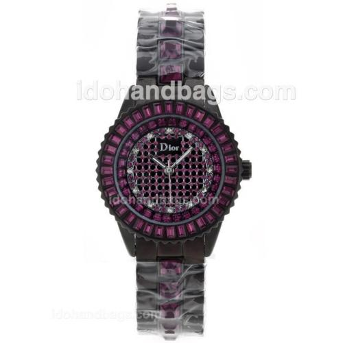 Dior Austria Crystal Ladies Watch Black Authentic Ceramic with Purple Diamond Dial 50260