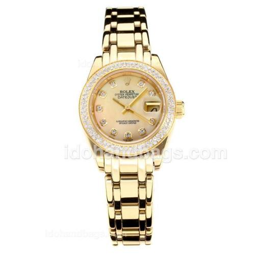 Rolex Masterpiece Automatic Full Gold Diamond Bezel with Apricot MOP Dial-Same Chassis as ETA Version 177136