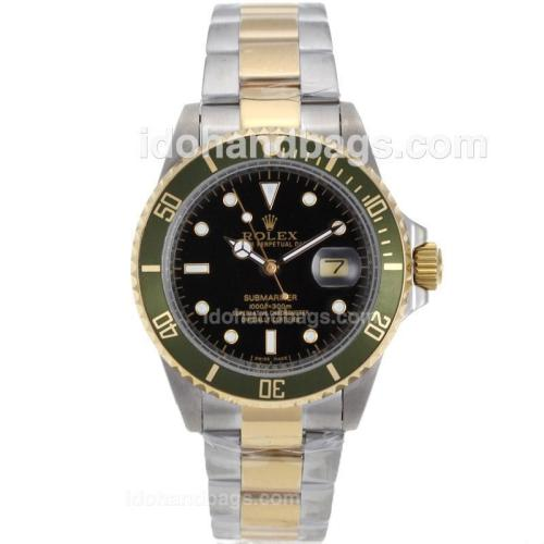 Rolex Submariner Automatic Two Tone with Black Dial and Green Bezel 41103