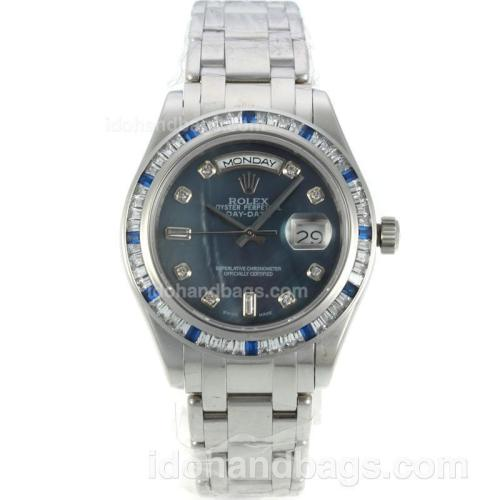 Rolex Masterpiece Automatic CZ Diamond Bezel with Blue MOP Dial-Diamond Markers S/S-Same Chassis as ETA Version 127050