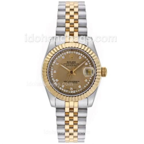 Rolex Datejust Automatic Two Tone Diamond Markers with Golden Dial-Mid Size 64213