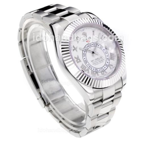 Rolex Sky Dweller Swiss ETA 2836 Movement with White Dial S/S-Sapphire Glass 195276