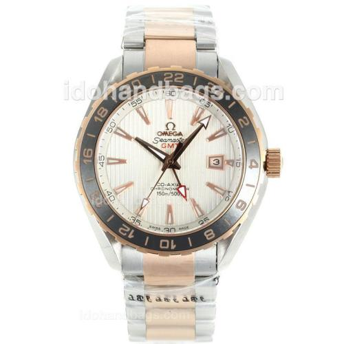 Omega Seamaster GMT Automatic Two Tone Black Ceramic Bezel with White Dial-18K Plated Gold Movement 112804