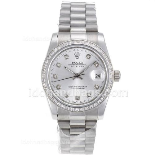 Rolex Datejust Automatic Diamond Marking and Bezel with Silver Dial S/S-Sapphire Glass 72739