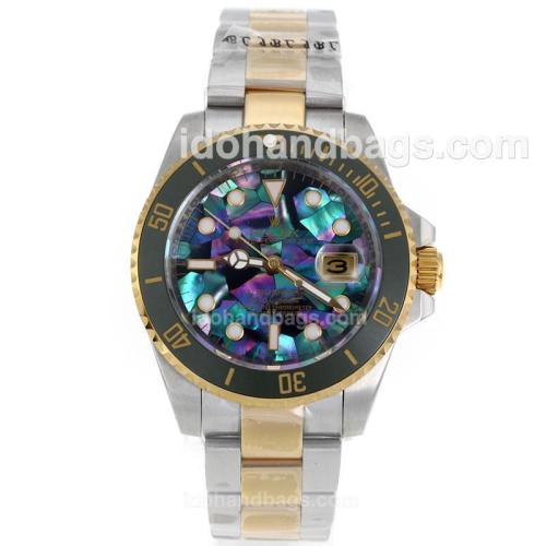Rolex Submariner Automatic Two Tone Green Ceramic Bezel with Puzzle Style MOP Dial-Sapphire Glass 119230