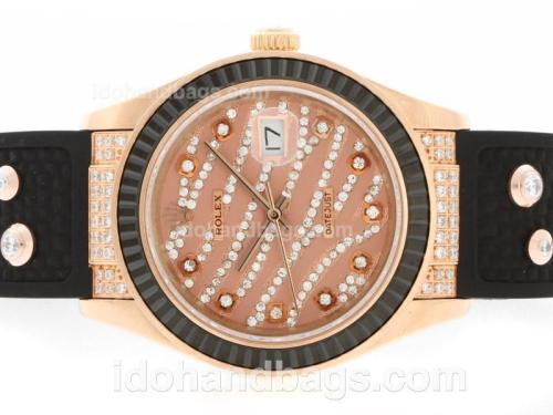 Rolex Datejust Automatic Rose Gold Case Diamond Marking with Black Ruby Bezel-Brown Diamond Crested Dial 36642